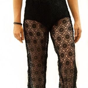 Modern Black Lace Beach Cover-Up Pants